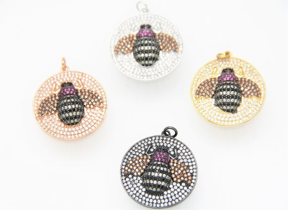 CZ Micro Pave 26mm Disc With Bee Pendant