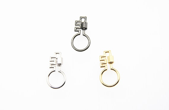 Plain Brass 16x30mm Key Shape Screw Clasp Carabiner