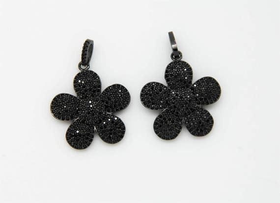 Black CZ Micro Pave 25mm Flower Pendant With CZ Bail
