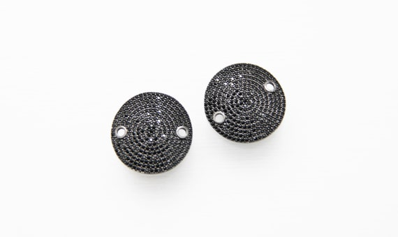 Black CZ Micro Pave 24mm Coin Shape Connector with Hole