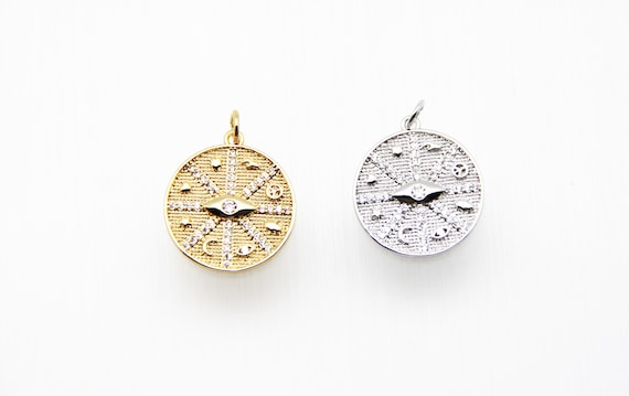 CZ Micro Pave 20mm Coin Shape with multiple symbol Pendant