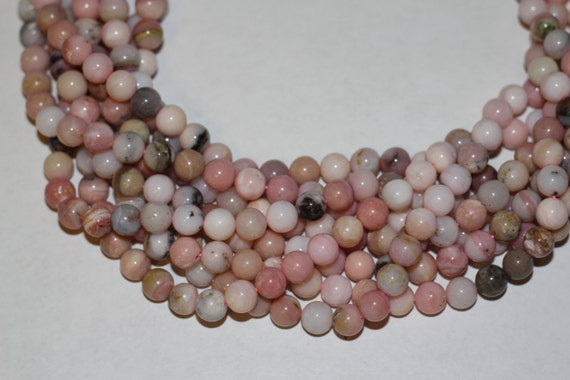 "Pink Opal 8mm smooth round beads 16"" length strand"