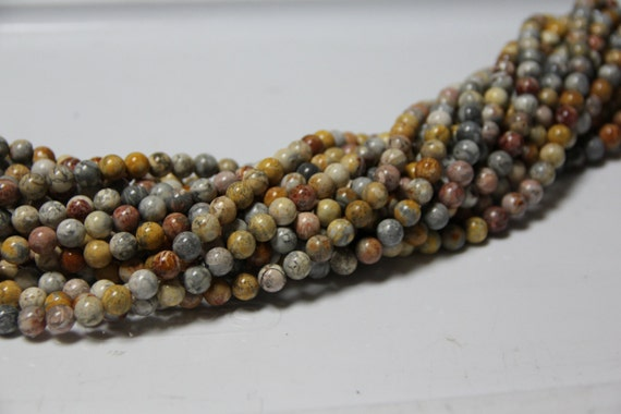 "Flower  Jasper 8mm smooth round beads 16"" length full strand"