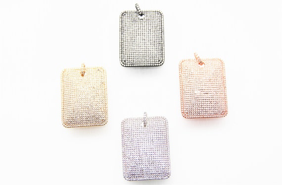 CZ Micro Pave 30x40mm  Rectangle Tag Pendant