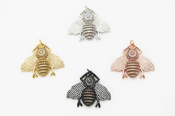 CZ Micro Pave 32x36mm Bee Pendant