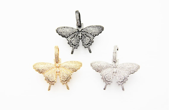 CZ Micro Pave 30x40mm 3D Butterfly Pendant