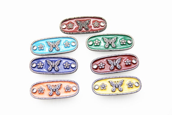 CZ Micro Pave Enamel 15x43mm Butterfly Oval Shape Connector with Hole