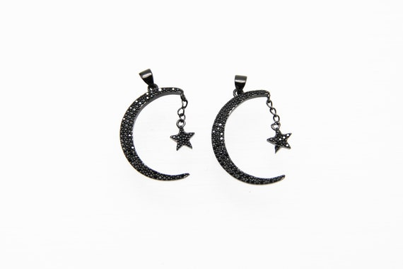 Black CZ Micro Pave 28mm Moon & Star Pendant