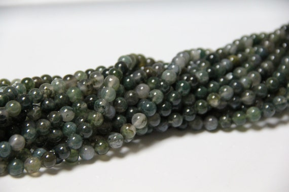 "Moss Agate 8mm smooth round beads 16"" length full strand"