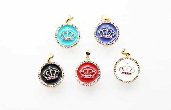 CZ Micro Pave Enamel 18mm Disc With Crown Charm