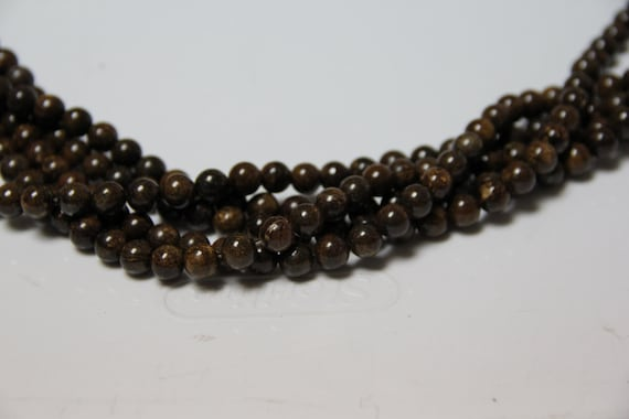 "Bronzite 8mm smooth round beads 16"" length full strand"