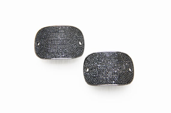 Black CZ Micro Pave 28x40mm Oval Shape Connector with Hole