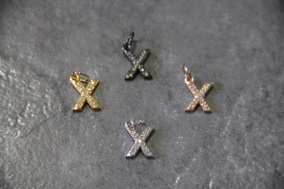 """CZ Micro Pave Letter """"X"""" Charm with Jump Ring"""