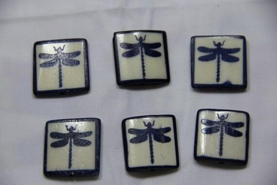 6 pcs Batik Bone Dragonfly Rectangle Beads