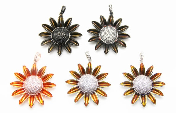 CZ Micro Pave 50mm Sunflower Pendant With CZ Bail