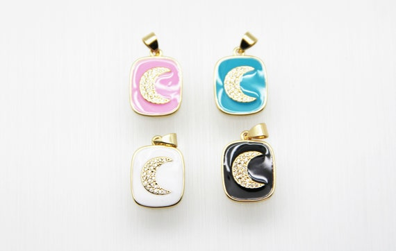 CZ Micro Pave Enamel 14x17mm Tag With Moon Charm