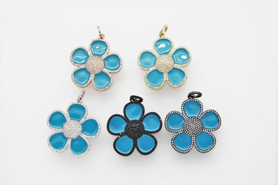 CZ Micro Pave Enamel 40mm Flower