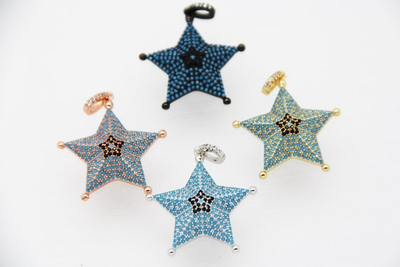 CZ Micro Pave 30mm 3D Five Star Pendant with CZ Bail