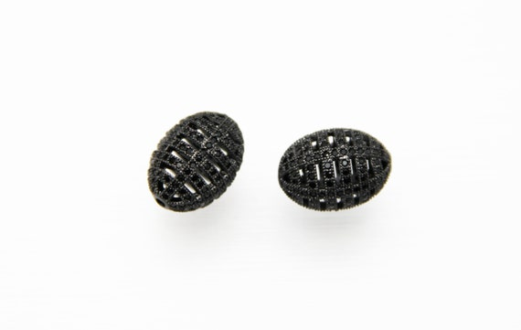 Black CZ Micro Pave 16x22mm Cage  Beads