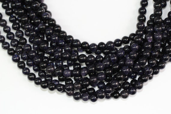 """Blue Gold Sand Stone 8mm smooth round beads 16"""" length full strand"""