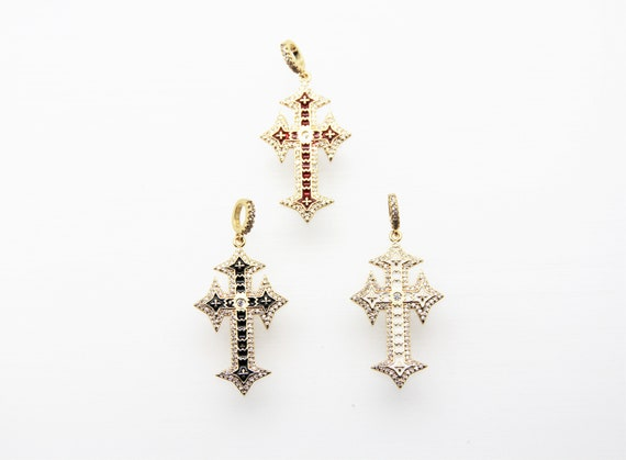 CZ Micro Pave Enamel 23x38mm Religious Cross Pendant with CZ Bail