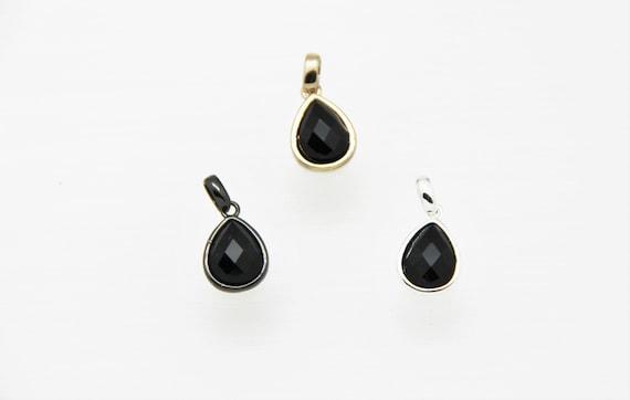 Black Onyx 10x12mm Teardrop Shape Brass Bezel Setting Pendant