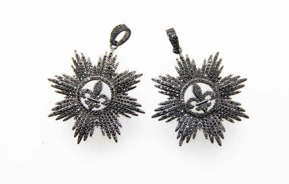 Black CZ Micro Pave 40mm Starburst Pendant With CZ Bail