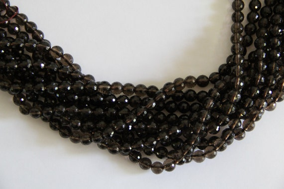 "Smoky Quartz 8mm faceted round beads 16"" length strand"