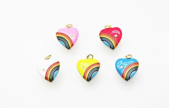 CZ Micro Pave Enamel 18mm Puffy Heart With Rainbow Charm