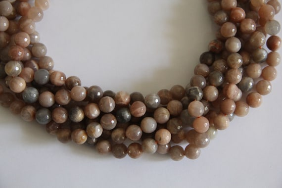 "Sunstone 10mm faceted round beads 16"" length strand"