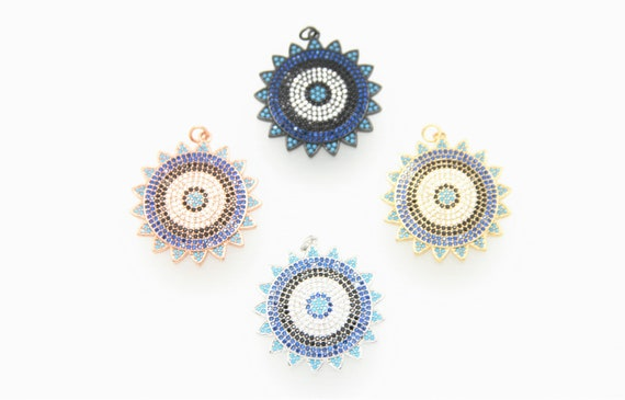 Mix Color CZ Micro Pave 32mm Sunburst Pendant