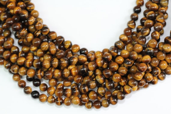 "Tiger Eye 8mm smooth round beads 16"" length full strand"