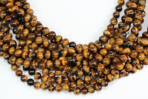 "Tiger Eye 8mm smooth round beads 16"" length full strand"