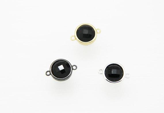 Black Onyx 12mm Coin Shape Brass Bezel Setting Connector