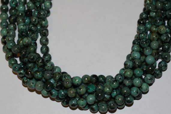 "African Turquoise 8mm smooth round beads 16"" length strand"