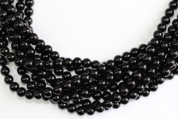 "Black Onyx  2-14mm smooth round beads 16"" length full strand"