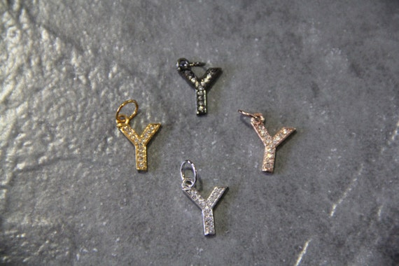 "CZ Micro Pave Letter ""Y"" Charm with Jump Ring"