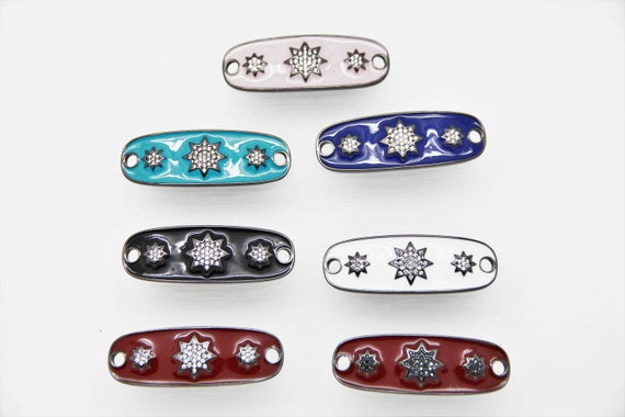 CZ Micro Pave Enamel 15x43mm Oval Shape Connector with Hole