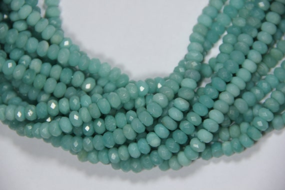 "AA Grade Amazonite 8x5mm faceted roundel beads 16"" length full strand"