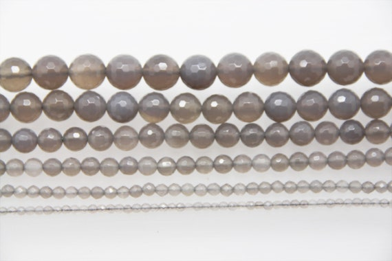"Grey Onyx 3-12mm faceted round beads 16"" length strand"