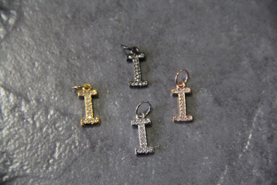 "CZ Micro Pave Letter ""I"" Charm with Jump Ring"