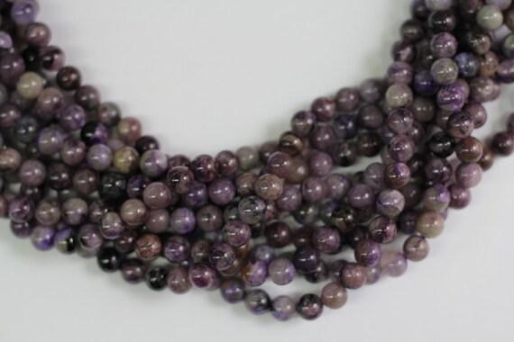 "Charorite 8mm smooth round beads 16"" length strand"