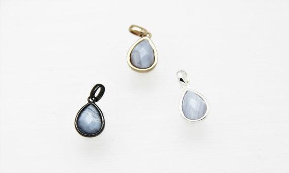 Blue Lace Agate 10x12mm Teardrop Shape Brass Bezel Setting Pendant