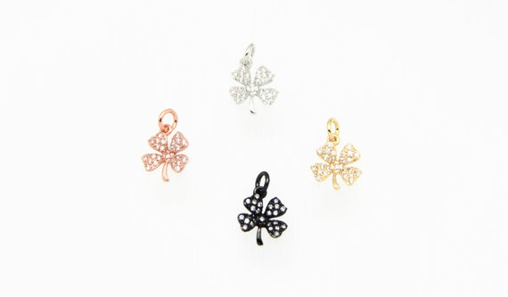 CZ Micro Pave 11mm Mini Flower  Charm with Jump Ring