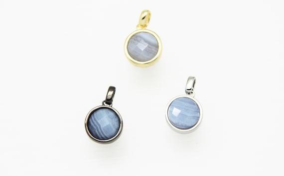 Blue Lace Agate 12mm Coin Shape Brass Bezel Setting Pendant