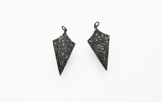Black CZ Micro Pave 18x35mm Arrow Pendant