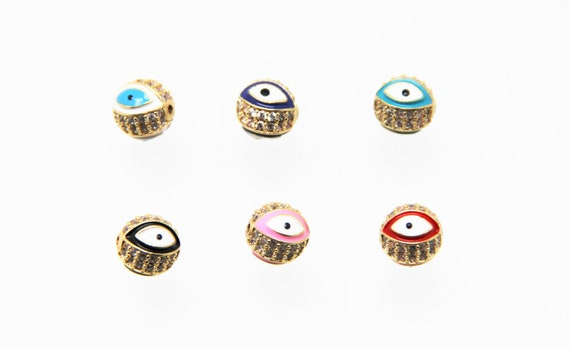 CZ Micro Pave Enamel 10mm Evil Eye Round Beads