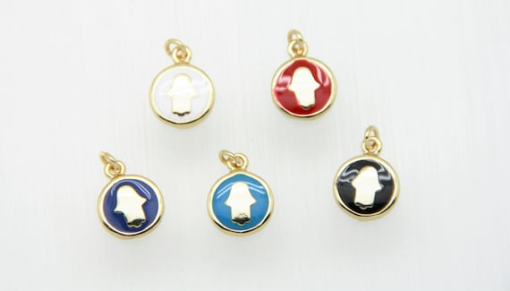 Enamel 11mm Disc With Gold Hamsa Charm