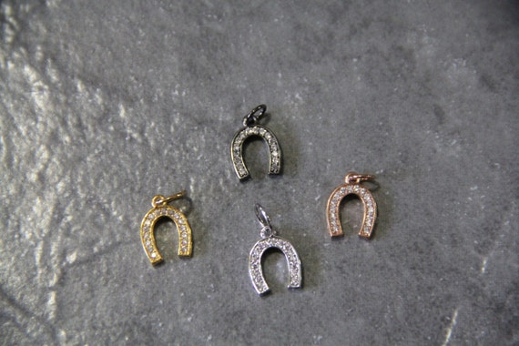 CZ Micro Pave 9x11mm Horse Shoe  Charm with Jump Ring