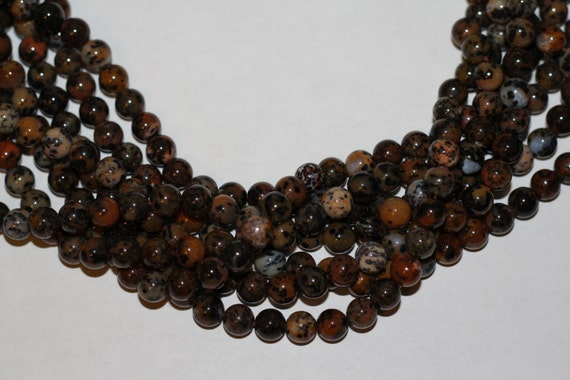 "Leopard Agate 8mm smooth round beads 16"" length strand"